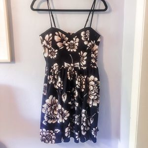 Navy Blue/White/Beige Spaghetti strap dress